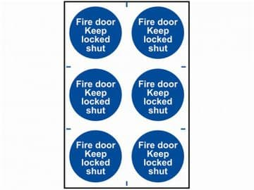 Fire Door Keep Locked Shut - PVC 200 x 300mm